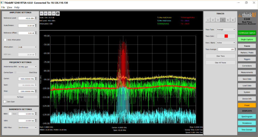 Multiple traces on the enhanced S240 real time spectrum analysis application