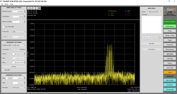 Easy saving capabilities in the S240 rf spectrum analyzer software